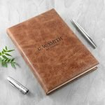 Personalised Natural Tan Leather Notebook