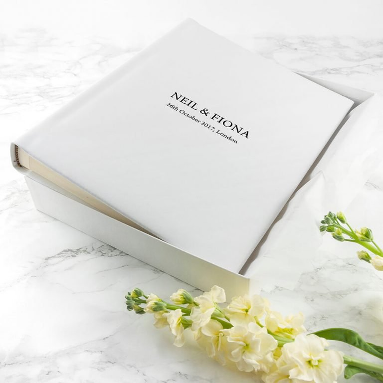 Personalised White Leather Photo Album (Engraved)