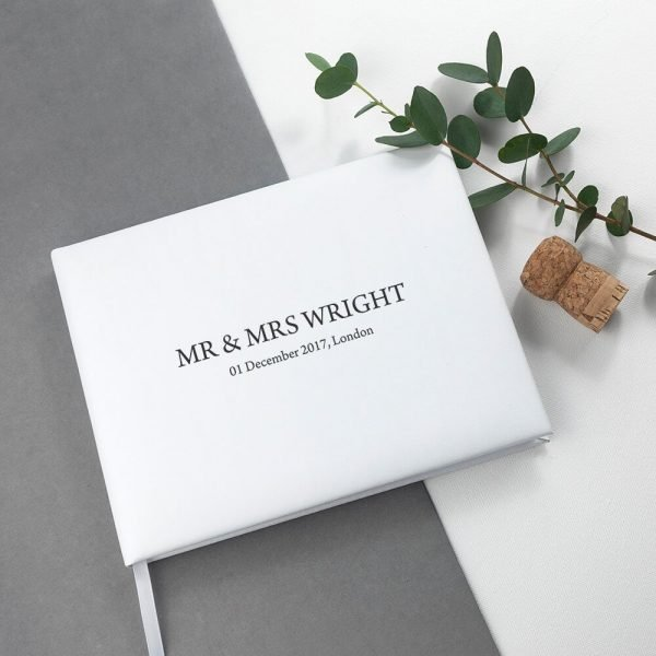Personalised White Leather Wedding Guest Book (Engraved)
