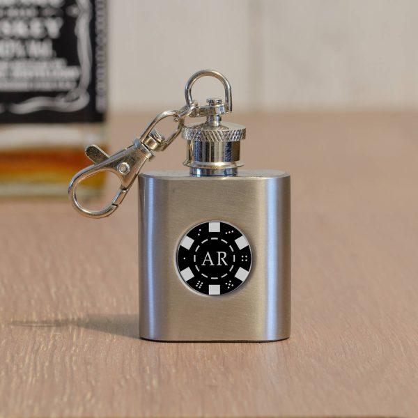 Personalised Steel Value Hip Flask Key Ring – Initials
