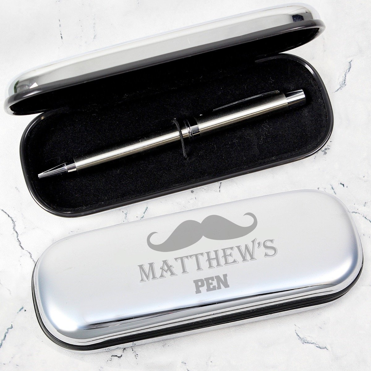 Personalised Moustache Pen and Box Set