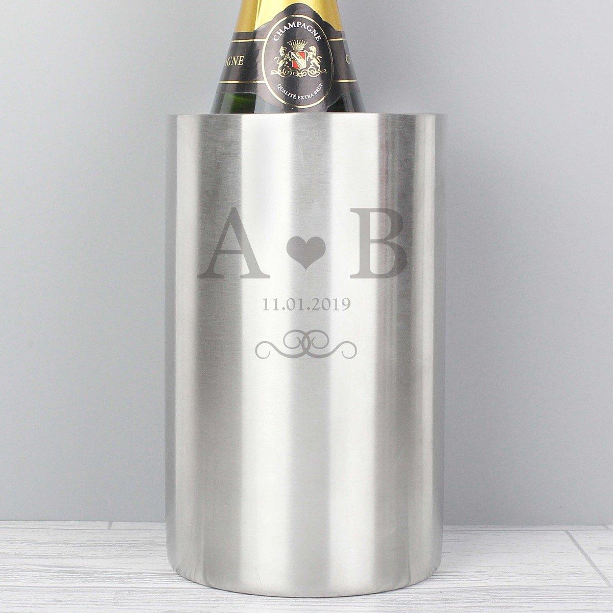Personalised Monogram Stainless Steel Wine Cooler