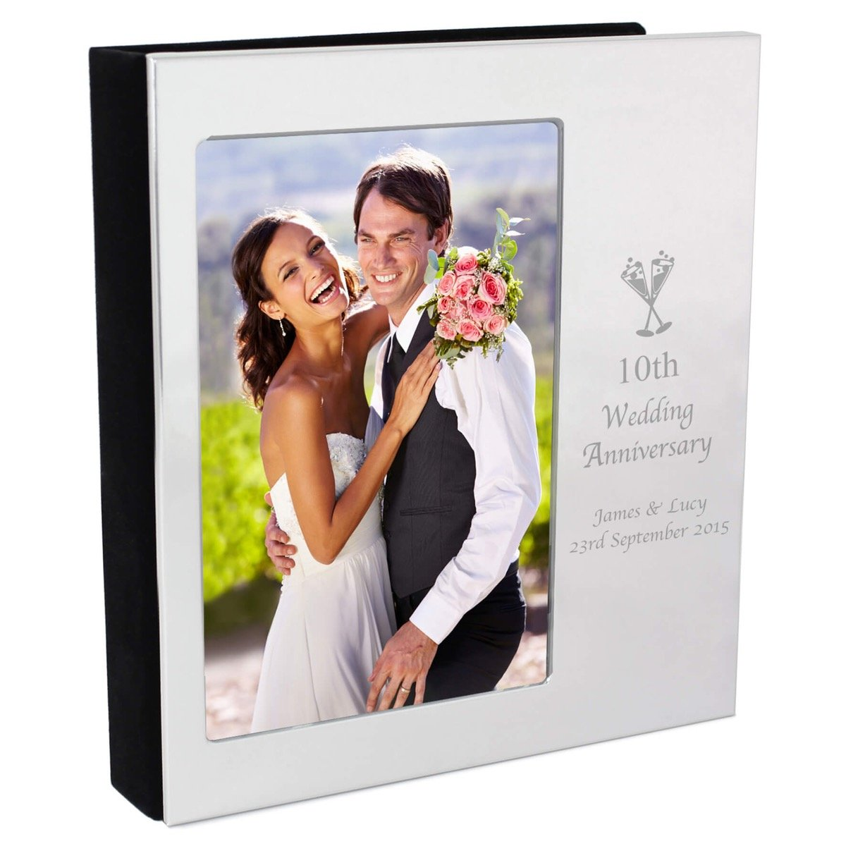 Personalised Flute Wedding Anniversary Photo Frame Album 6×4