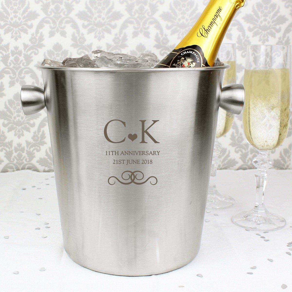 Personalised Monogram Stainless Steel Ice Bucket