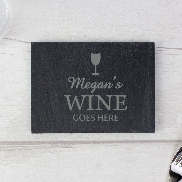 Personalised Wine Goes Here… Single Slate Coaster