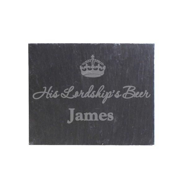 Personalised Crown Motif Single Slate Coaster