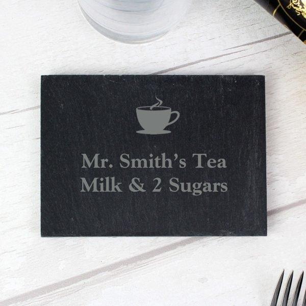 Personalised Hot Drink Motif Single Slate Coaster