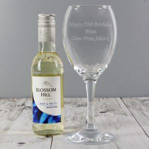 Personalised White Wine & Wine Glass Set
