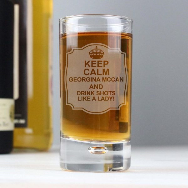 Personalised Keep Calm Bubble Shot Glass