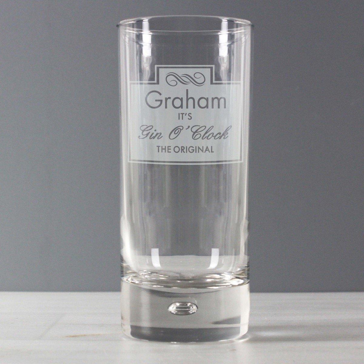 Personalised Gin O'Clock Hi Ball Bubble Glass