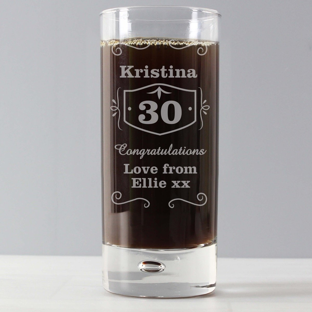 Personalised Classic Whisky Hi Ball Bubble Glass