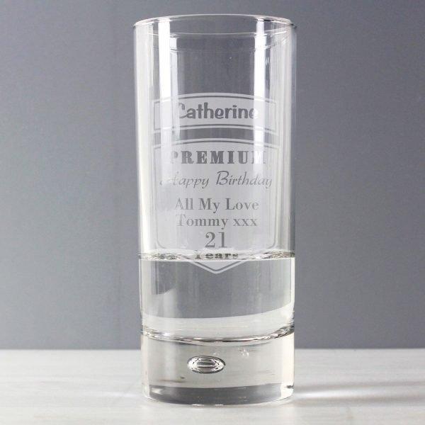 Personalised Premium Hi Ball Bubble Glass