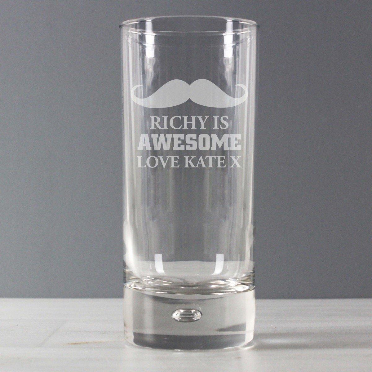 Personalised Moustache Hi Ball Bubble Glass