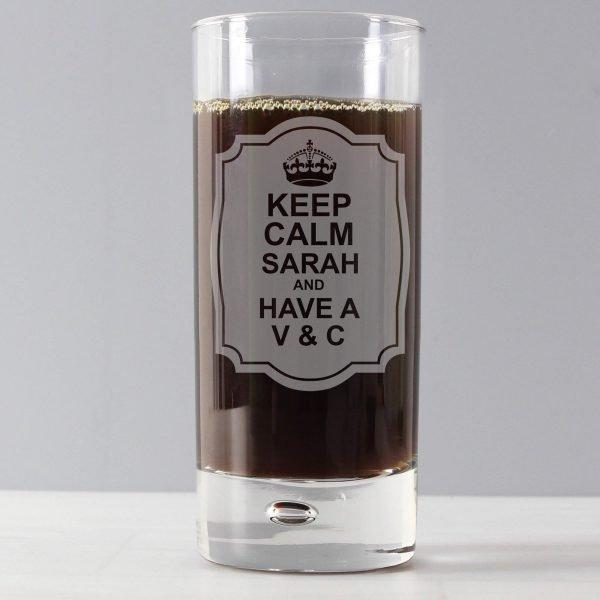 Personalised Keep Calm Hi Ball Bubble Glass