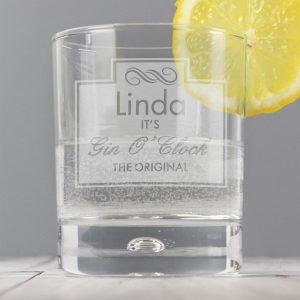 Personalised Gin O'Clock Tumbler Bubble Glass