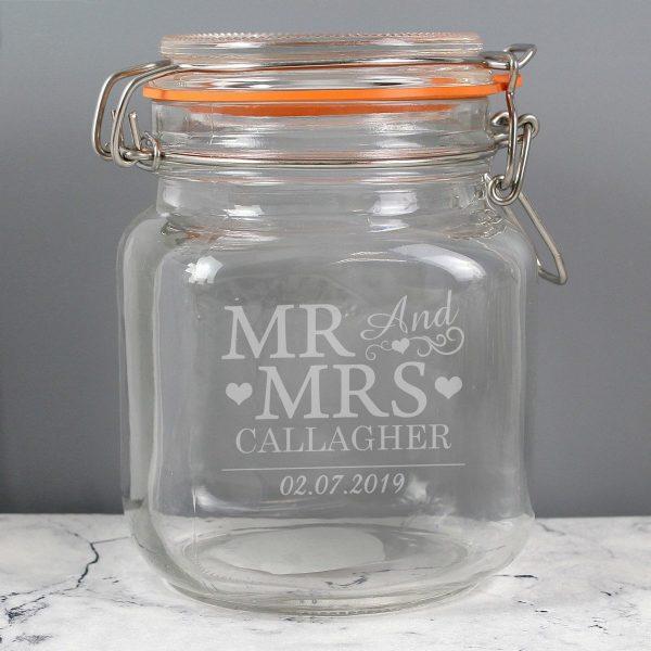 Personalised Mr & Mrs Glass Kilner Jar