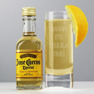 Personalised Shot Glass and Miniature Tequila – Text Only