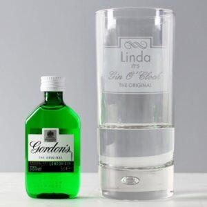 Personalised Gin O'clock Hi Ball Bubble Glass & Gin Miniature Set