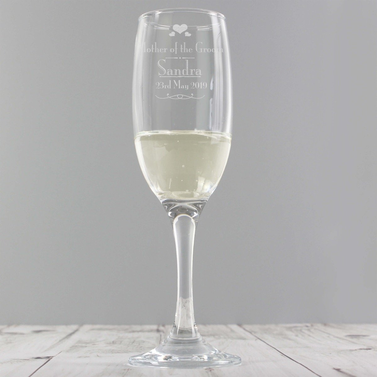 Personalised Decorative Wedding Mother of the Groom Glass Flute