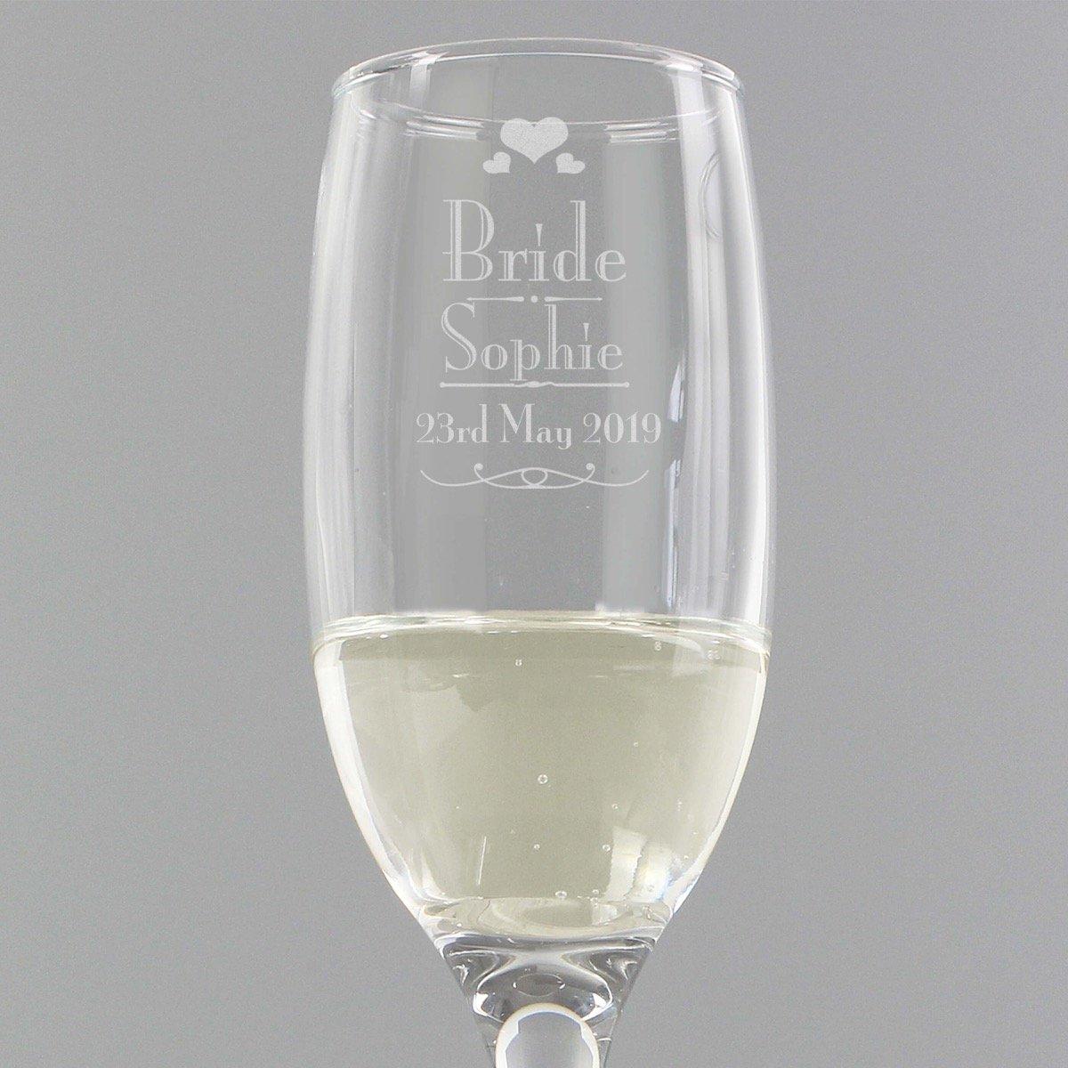 Personalised Decorative Wedding Bride Glass Flute