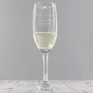 Personalised Decorative Wedding Maid of Honour Glass Flute