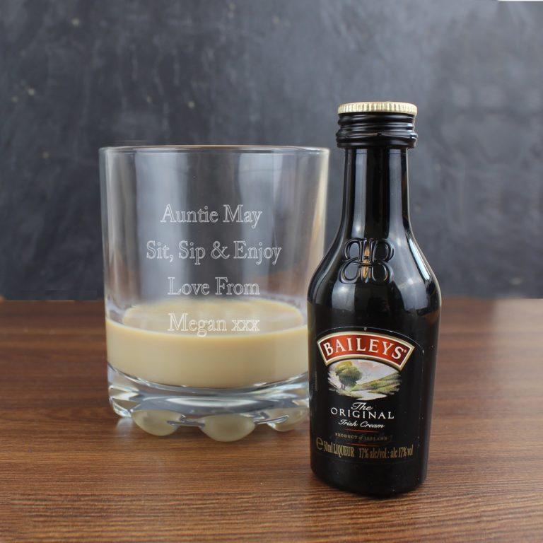 Personalised Tumbler & Baileys Miniature Set