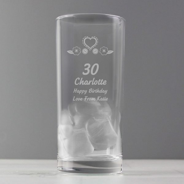 Personalised Birthday Craft Hi Ball Glass
