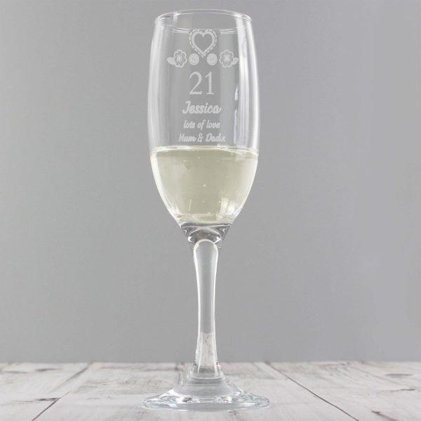 Personalised Birthday Craft Flute Glass