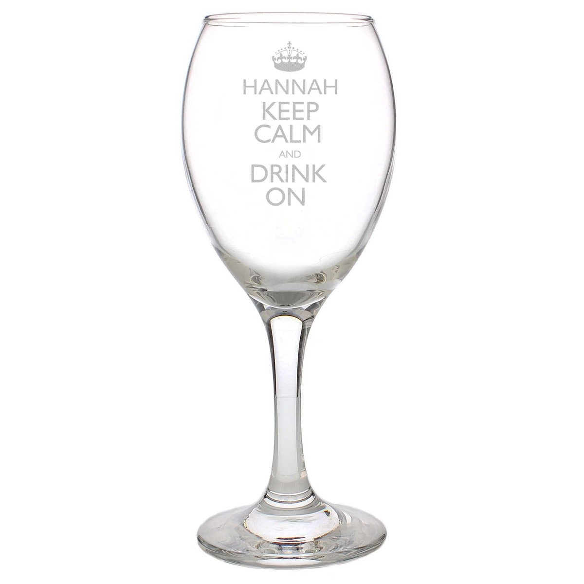 Personalised Keep Calm Engraved Wine Glass