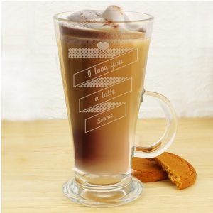 Personalised Heart Banner Latte Glass