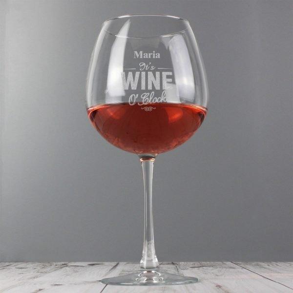 Personalised Wine O'Clock Bottle of Wine Glass