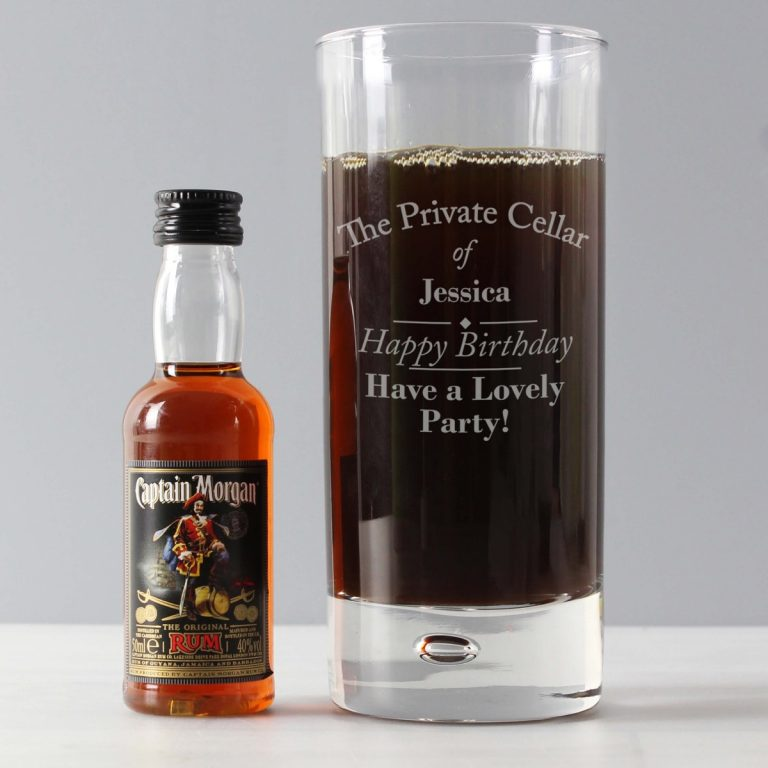 Personalised Private Cellar Hi Ball & Rum Miniature Set