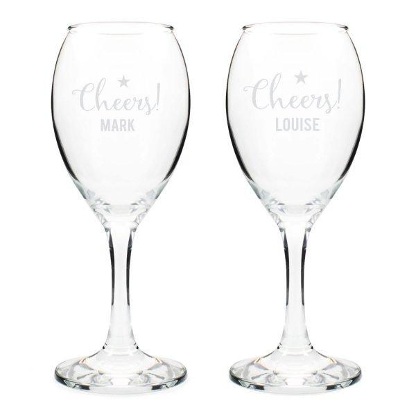 Personalised Cheers Wine Glass Set