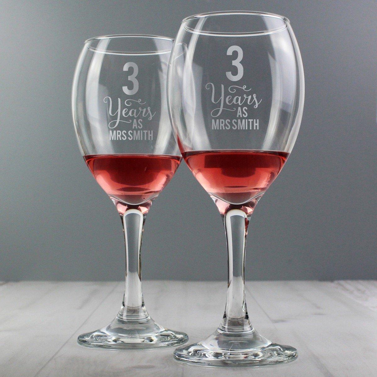 Personalised Years As… Wine Glass Set