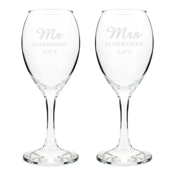 Personalised Mr & Mrs Wine Glass Set