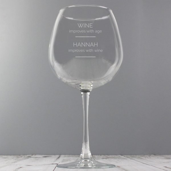 Personalised 'Wine Improves with Age' Bottle of Wine Glass