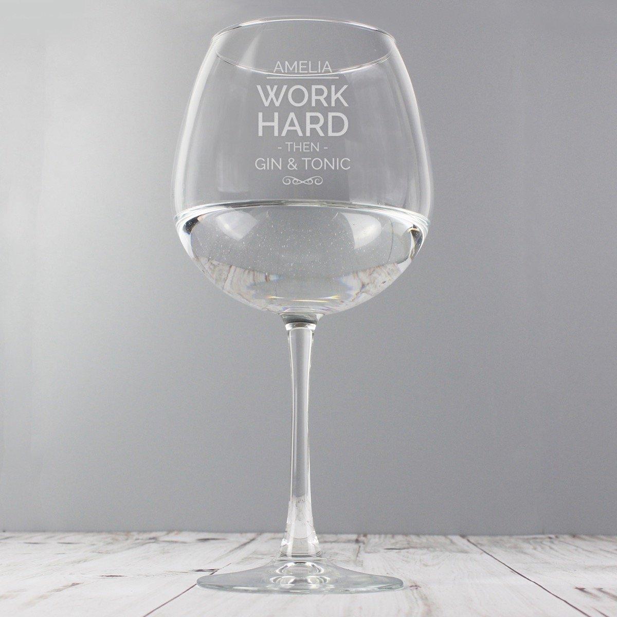 Personalised Work Hard Balloon Glass