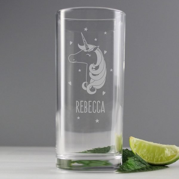 Personalised Unicorn Engraved Hi Ball Glass