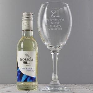 Personalised White Wine & Big Age Wine Glass Set