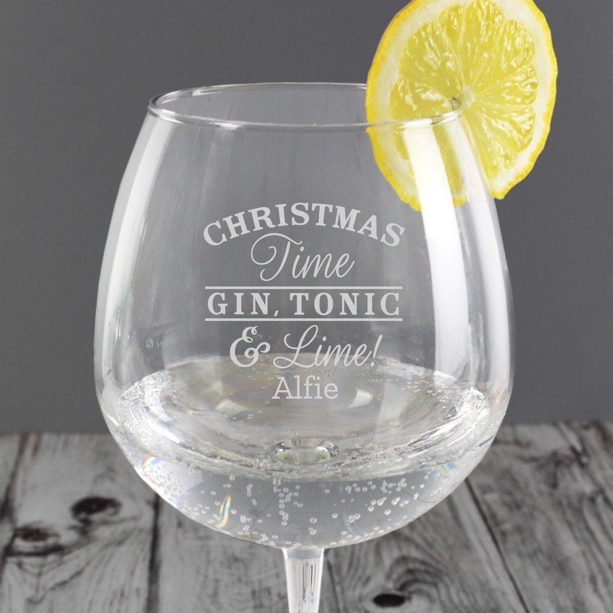 Personalised Christmas Gin Balloon Glass