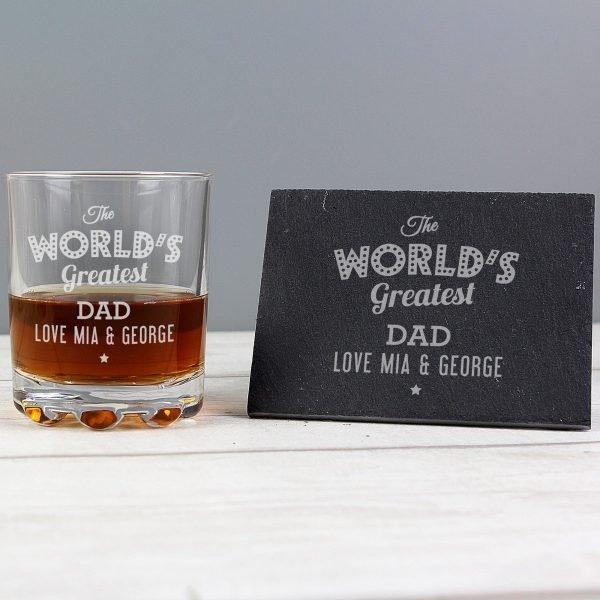 """Personalised """"""""The Worlds Greatest"""""""" Whisky Tumbler & Slate Coaster Set"""