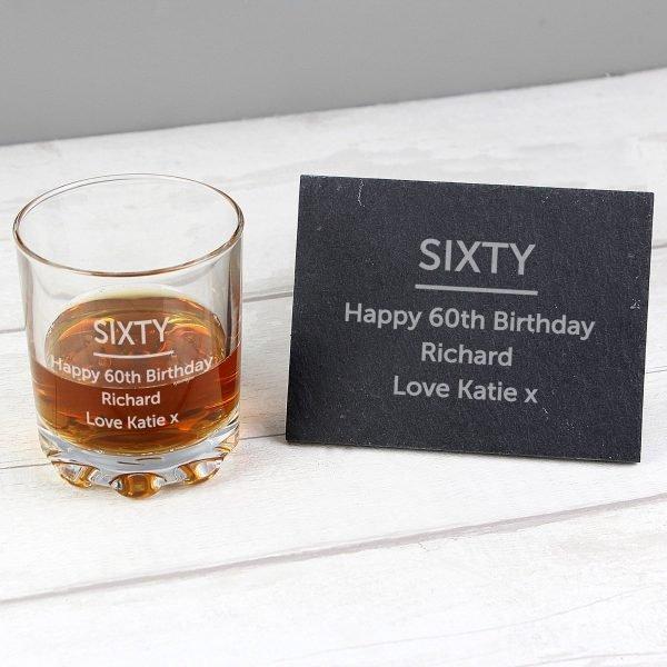 Personalised Whisky Tumbler & Slate Coaster Set