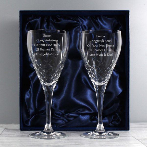 Personalised Pair of Crystal Wine Glasses