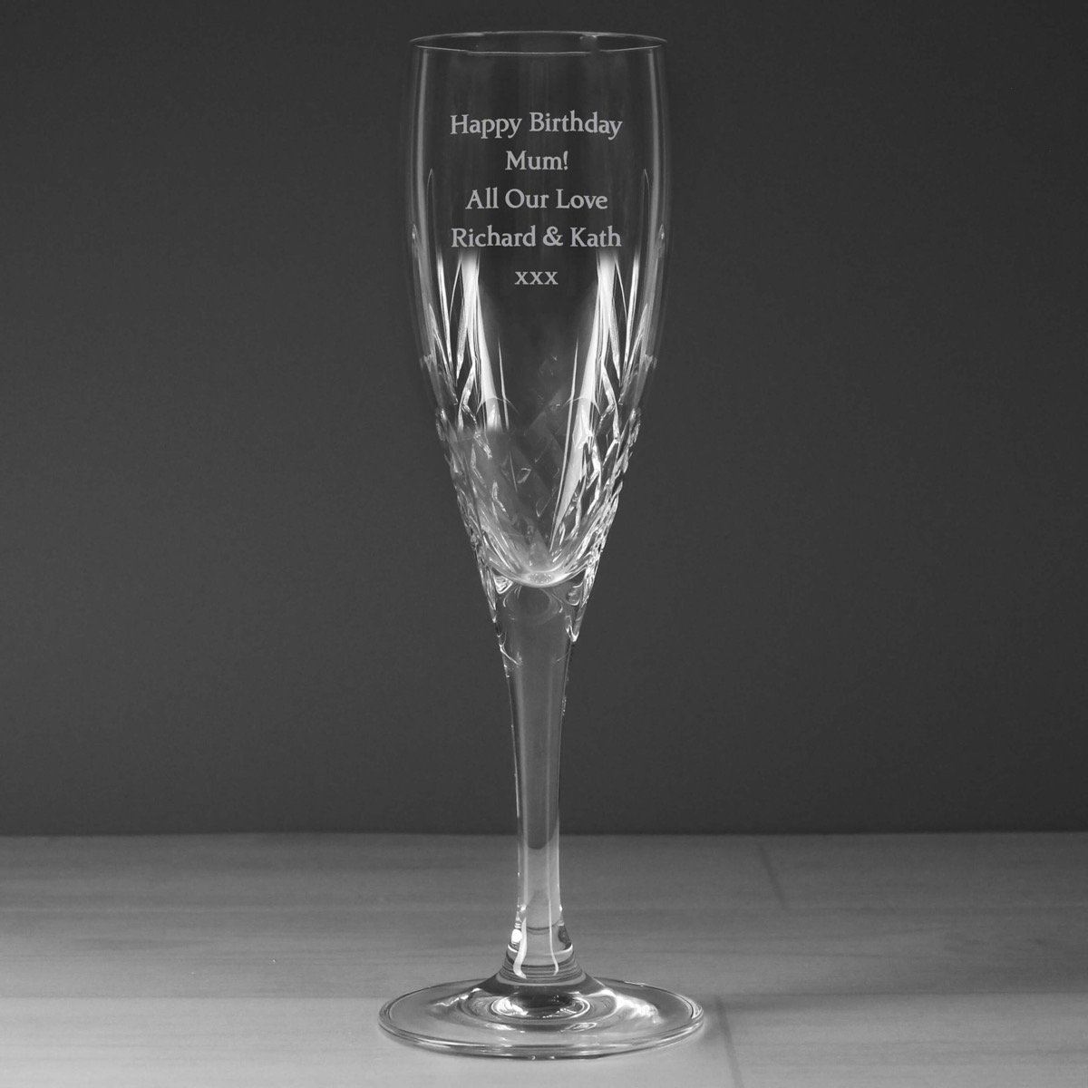 Personalised Cut Crystal Champagne Flute