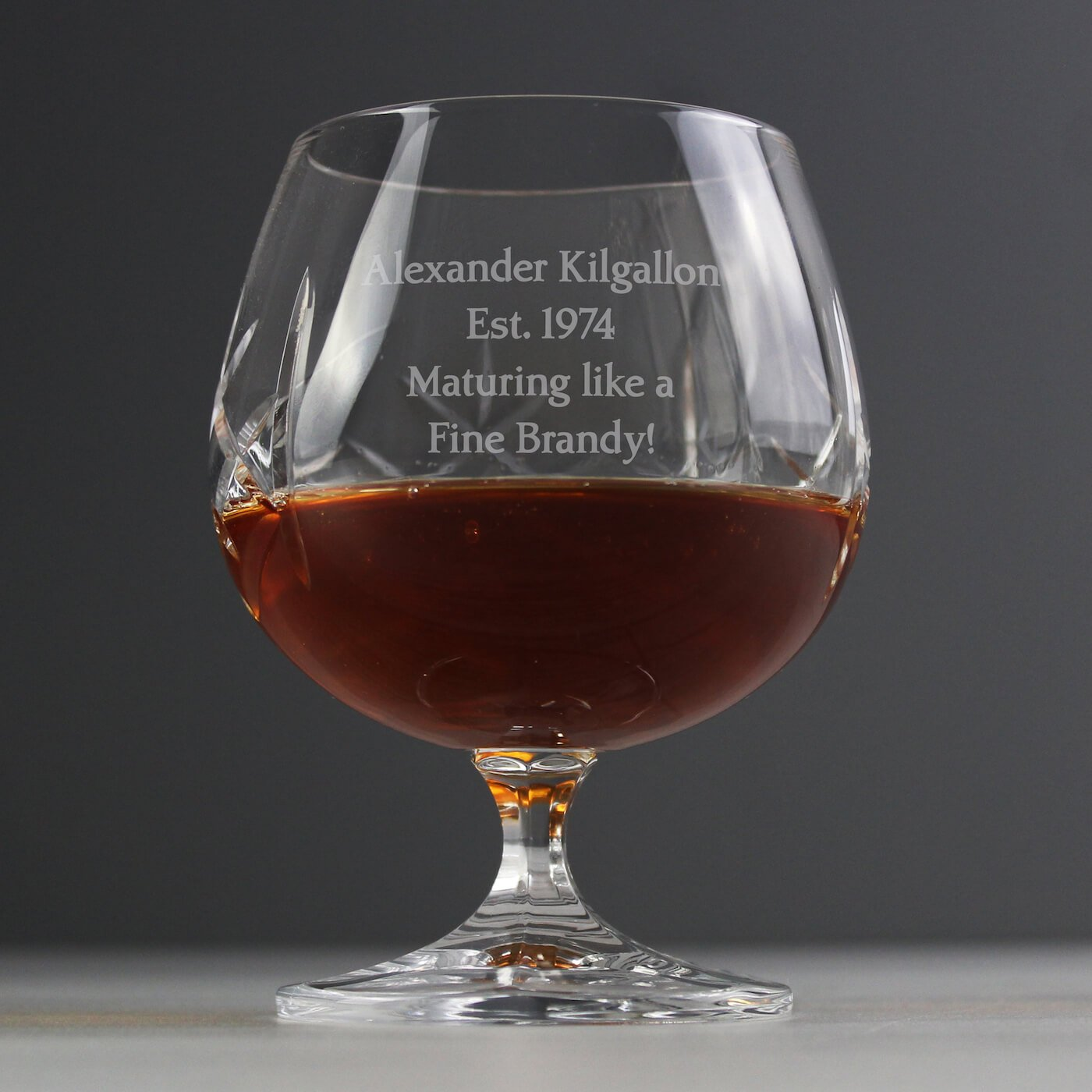Personalised Cut Crystal Small Brandy Glass