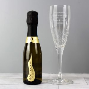 Personalised Cut Crystal and Miniature Prosecco Set