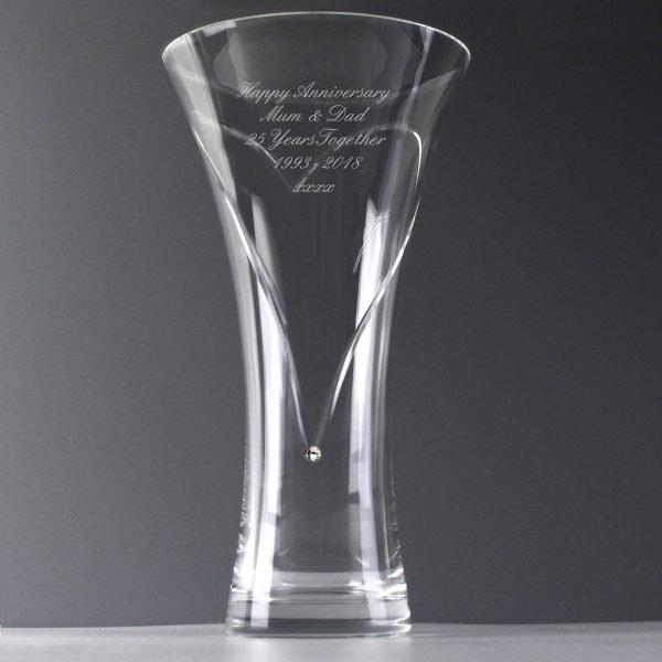 Personalised Large Hand Cut Diamante Heart Vase with Swarovski Elements