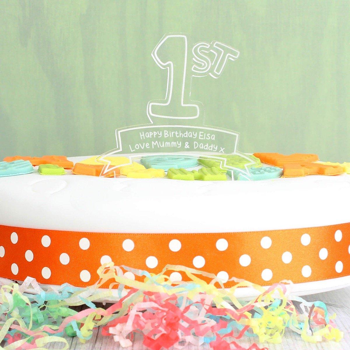 Personalised Acrylic '1st' Celebration Cake Topper