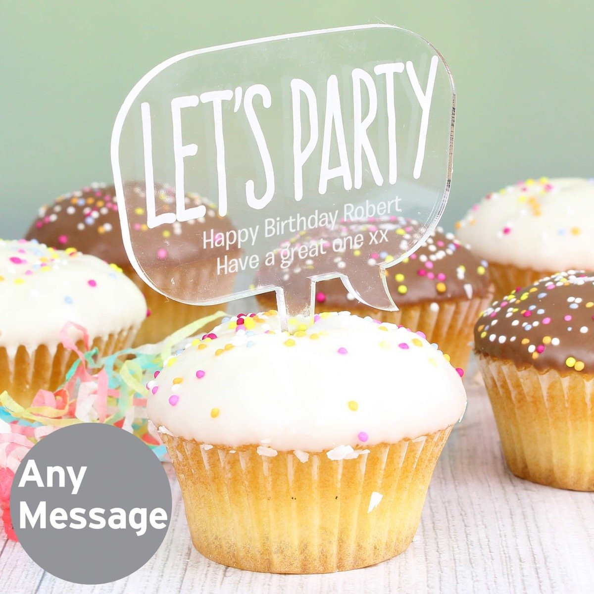 Personalised Acrylic Lets Party Cake Topper