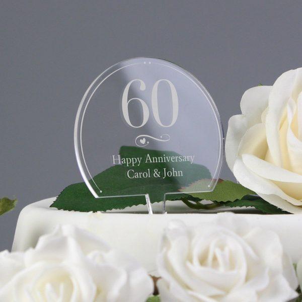 Personalised Swirls & Hearts Age Acrylic Cake Topper